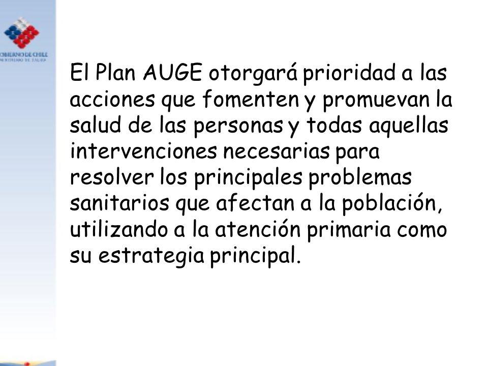 El Plan AUGE otorgará prioridad a las acciones que fomenten y promuevan la salud de las personas y todas aquellas