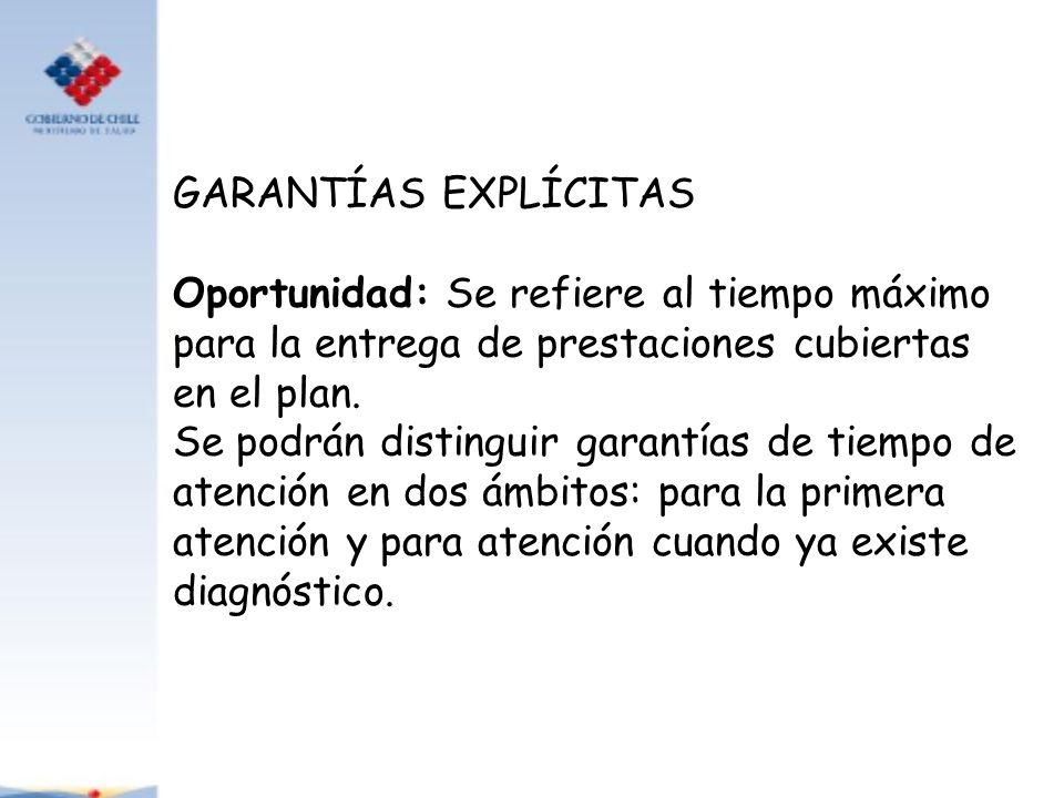 GARANTÍAS EXPLÍCITAS Oportunidad: Se refiere al tiempo máximo para la entrega de prestaciones cubiertas en el plan.