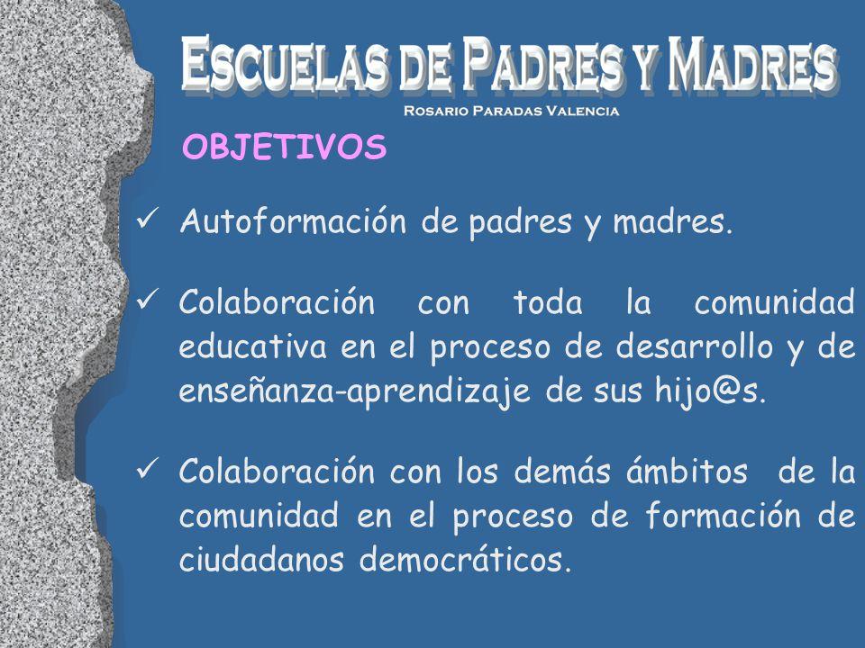 OBJETIVOS Autoformación de padres y madres.