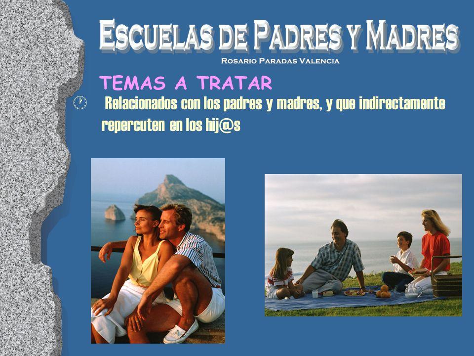 TEMAS A TRATAR Relacionados con los padres y madres, y que indirectamente repercuten en los hij@s