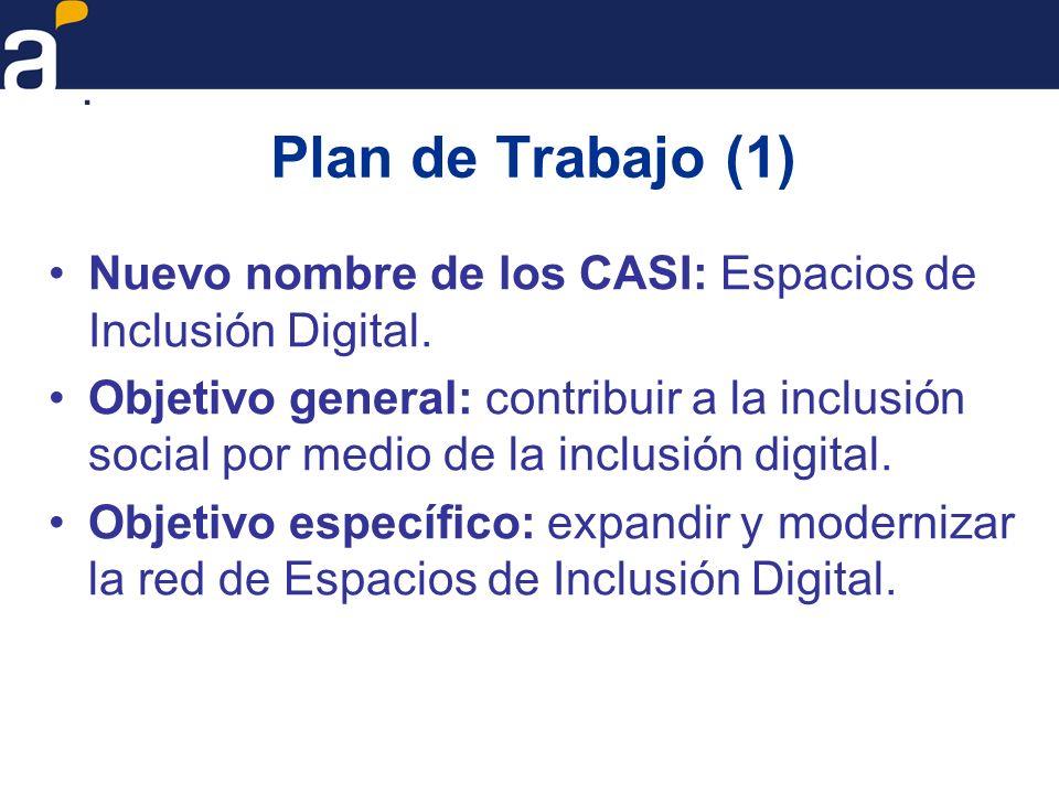 Plan de Trabajo (1) Nuevo nombre de los CASI: Espacios de Inclusión Digital.