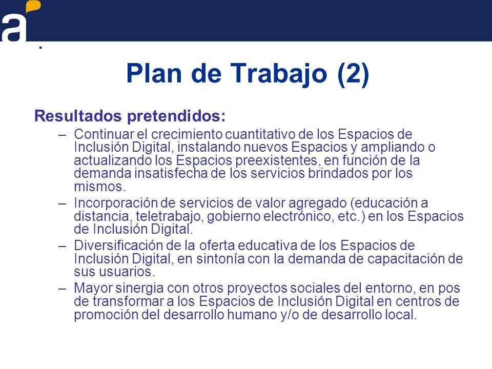 Plan de Trabajo (2) Resultados pretendidos: