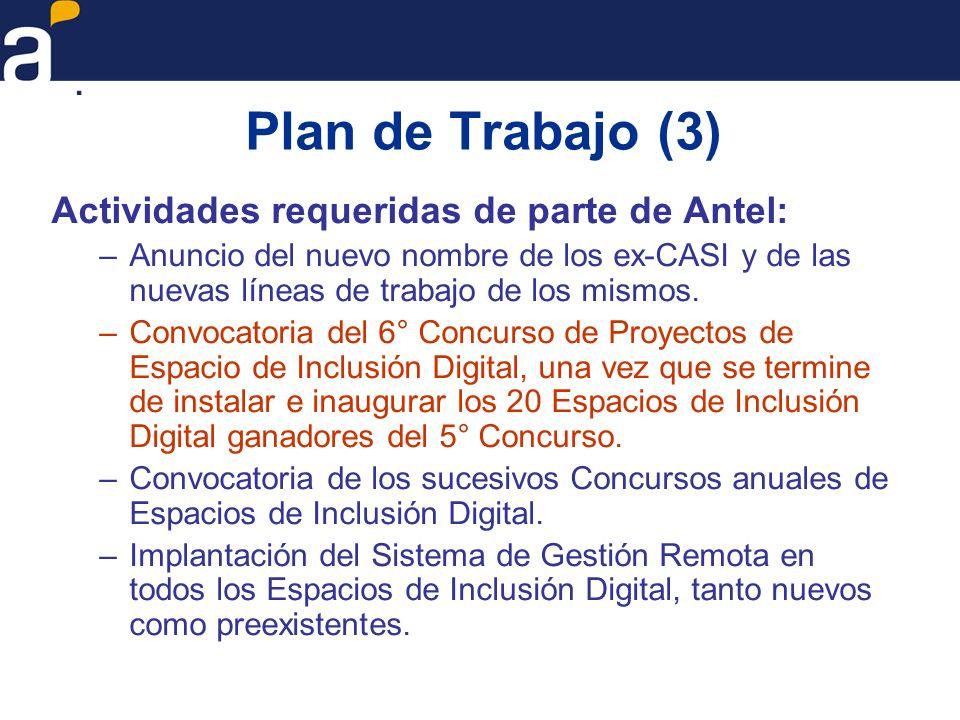 Plan de Trabajo (3) Actividades requeridas de parte de Antel: