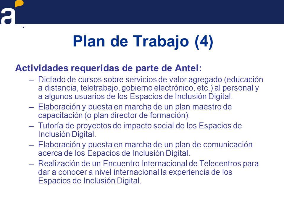 Plan de Trabajo (4) Actividades requeridas de parte de Antel: