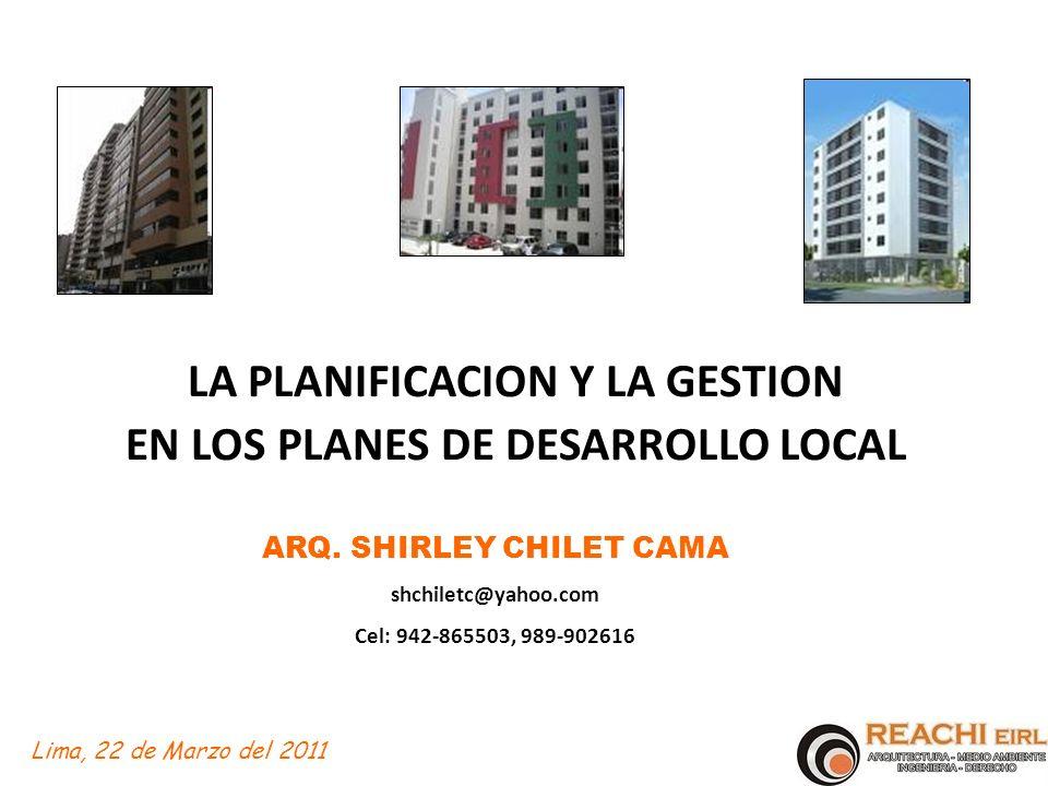 LA PLANIFICACION Y LA GESTION EN LOS PLANES DE DESARROLLO LOCAL
