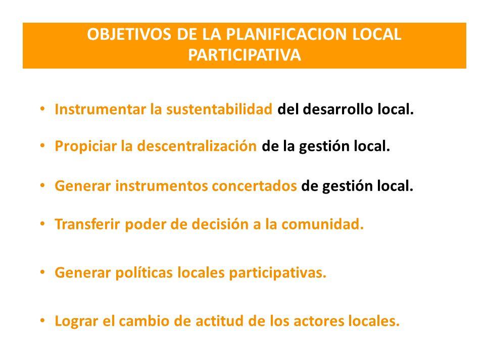 OBJETIVOS DE LA PLANIFICACION LOCAL PARTICIPATIVA