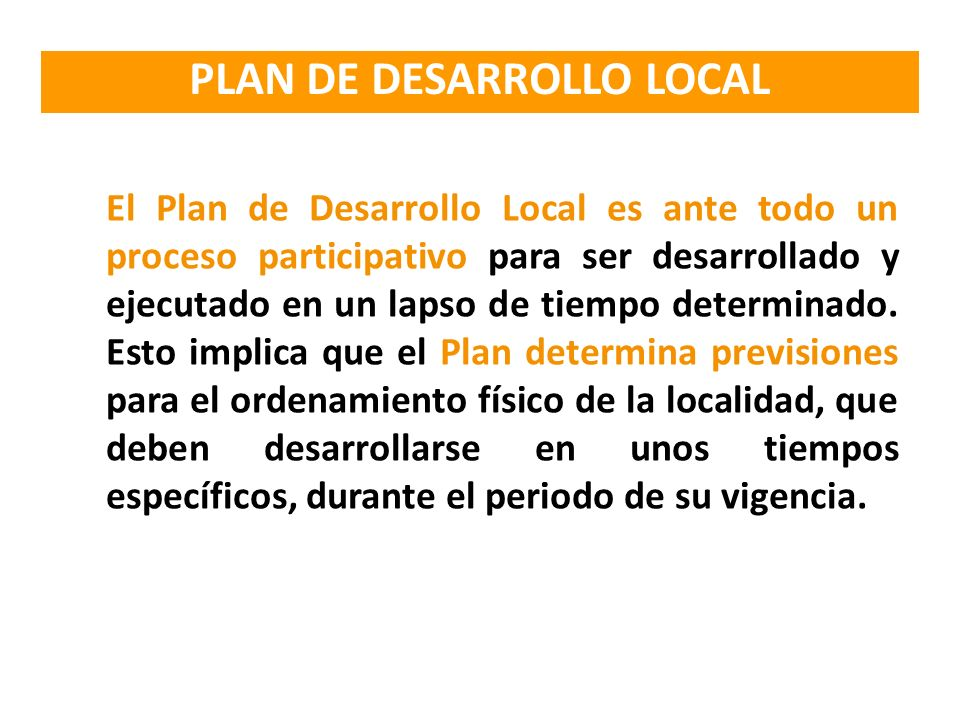 PLAN DE DESARROLLO LOCAL