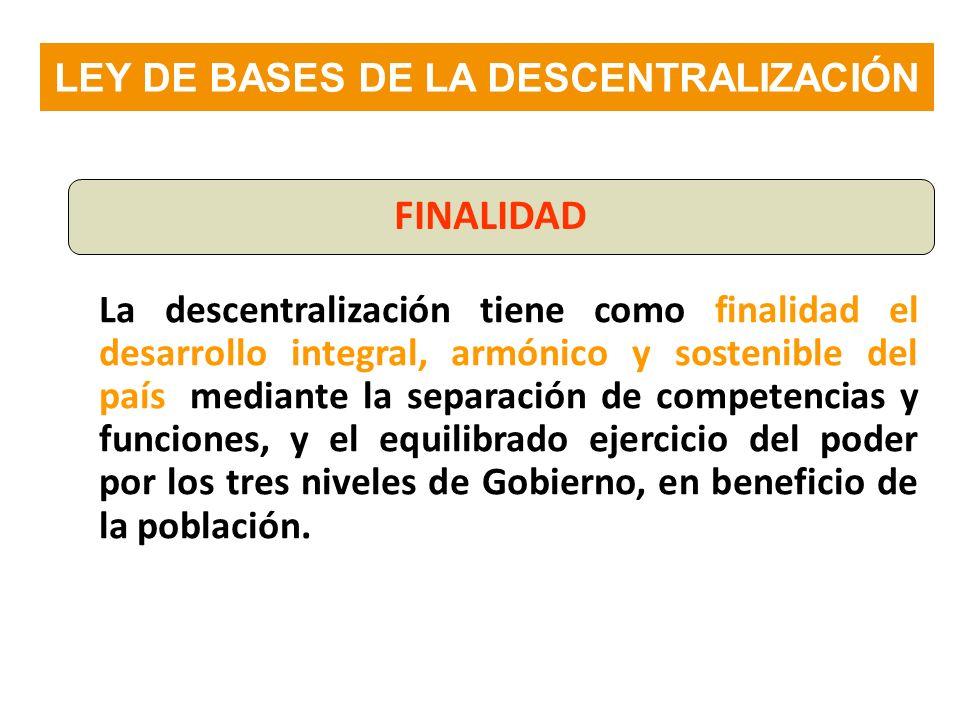 LEY DE BASES DE LA DESCENTRALIZACIÓN