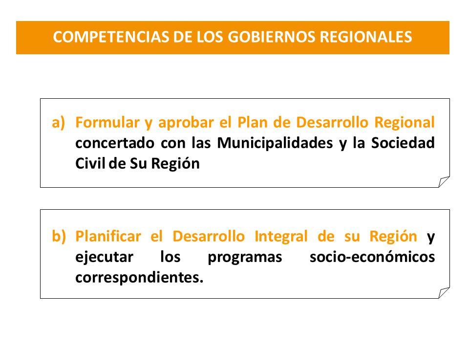 COMPETENCIAS DE LOS GOBIERNOS REGIONALES