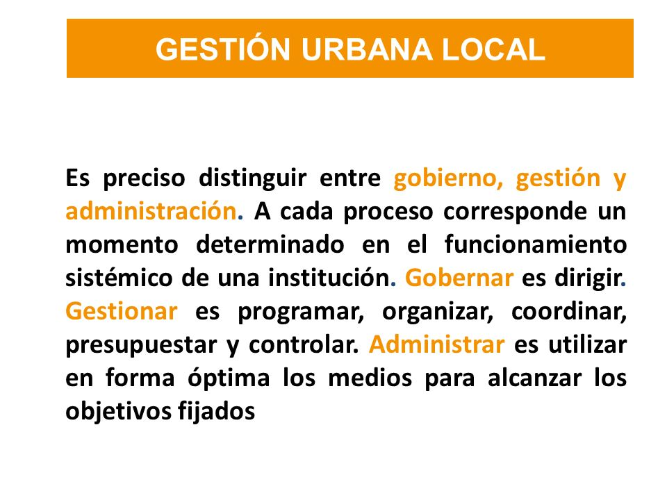 GESTIÓN URBANA LOCAL