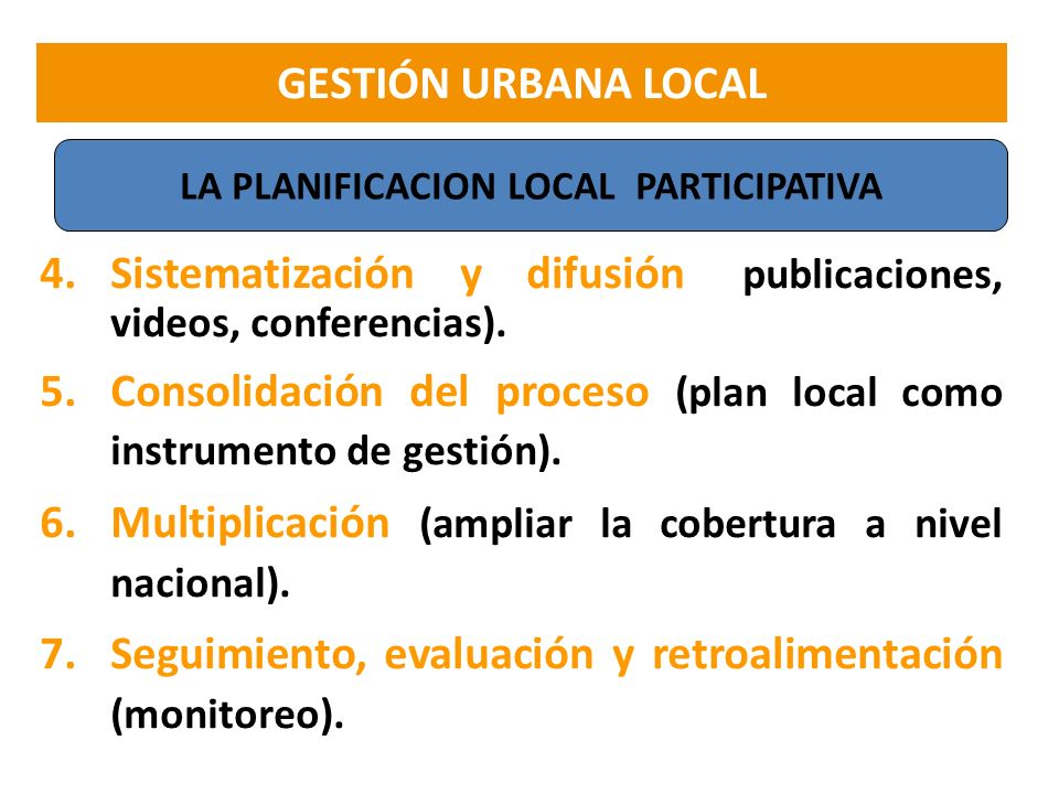 LA PLANIFICACION LOCAL PARTICIPATIVA