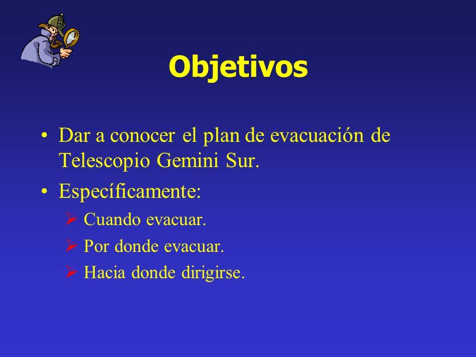Objetivos Dar a conocer el plan de evacuación de Telescopio Gemini Sur. Específicamente: Cuando evacuar.