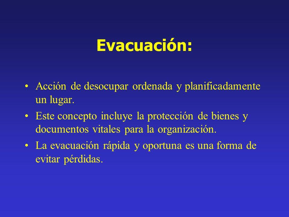 Evacuación: Acción de desocupar ordenada y planificadamente un lugar.