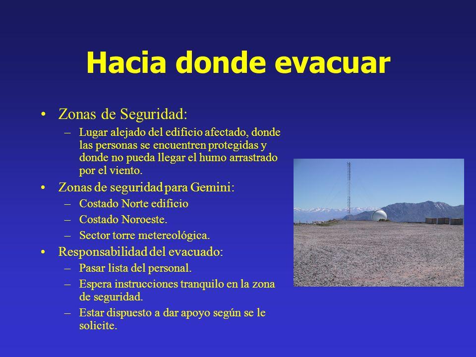 Hacia donde evacuar Zonas de Seguridad: