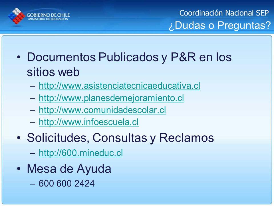 Documentos Publicados y P&R en los sitios web