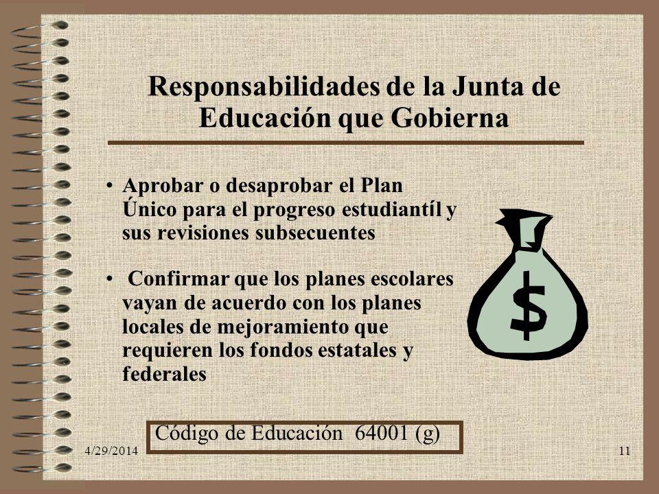 Responsabilidades de la Junta de Educación que Gobierna