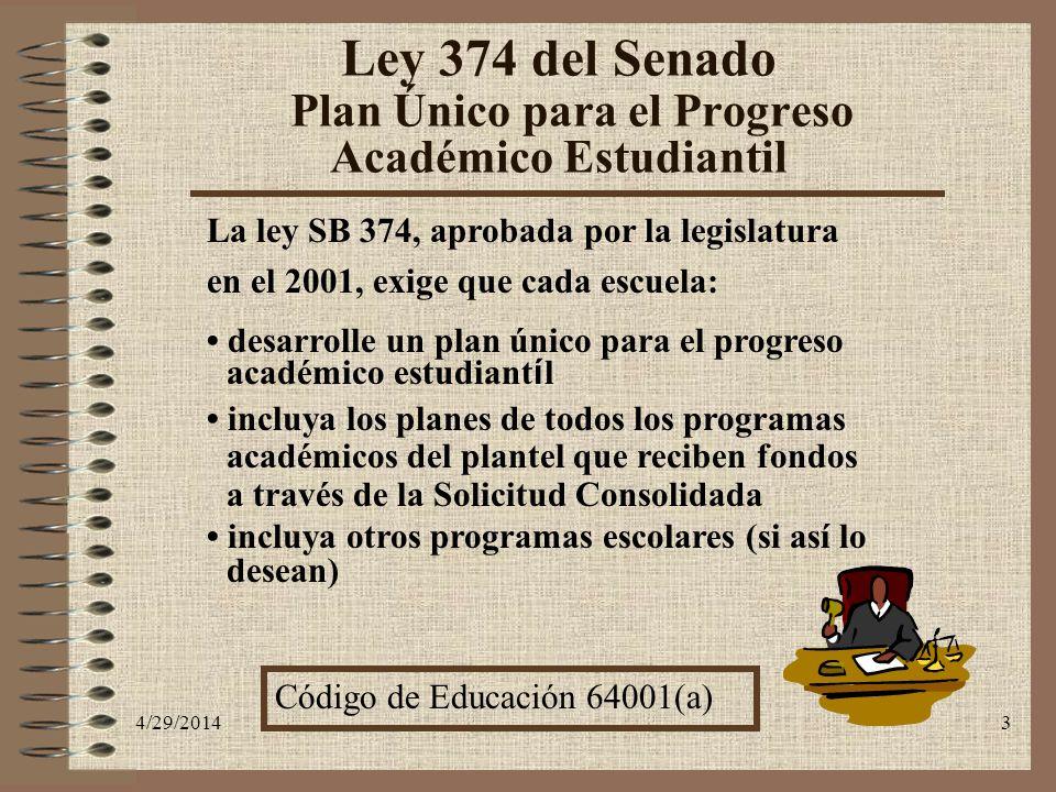 Ley 374 del Senado Plan Único para el Progreso Académico Estudiantil