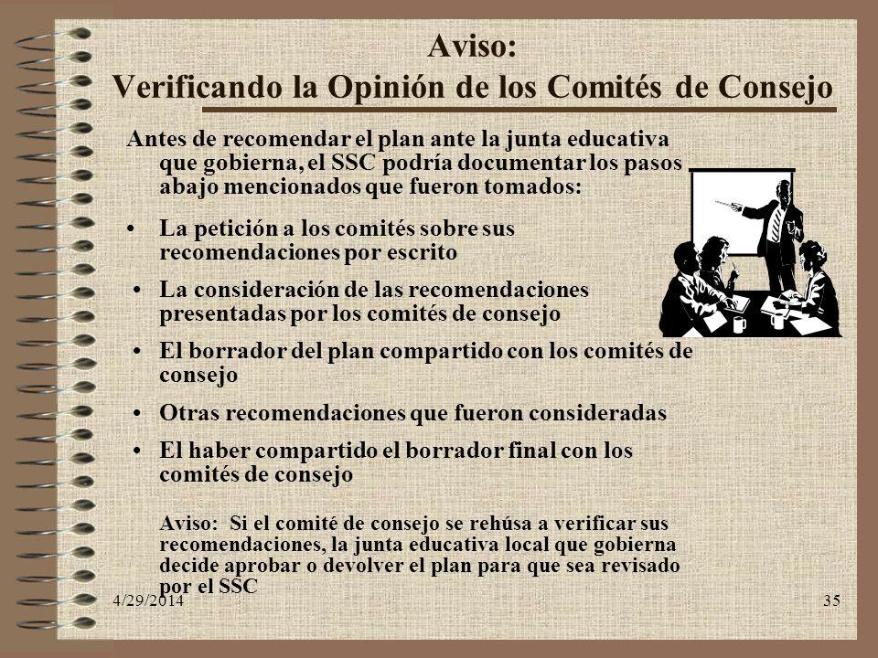 Aviso: Verificando la Opinión de los Comités de Consejo