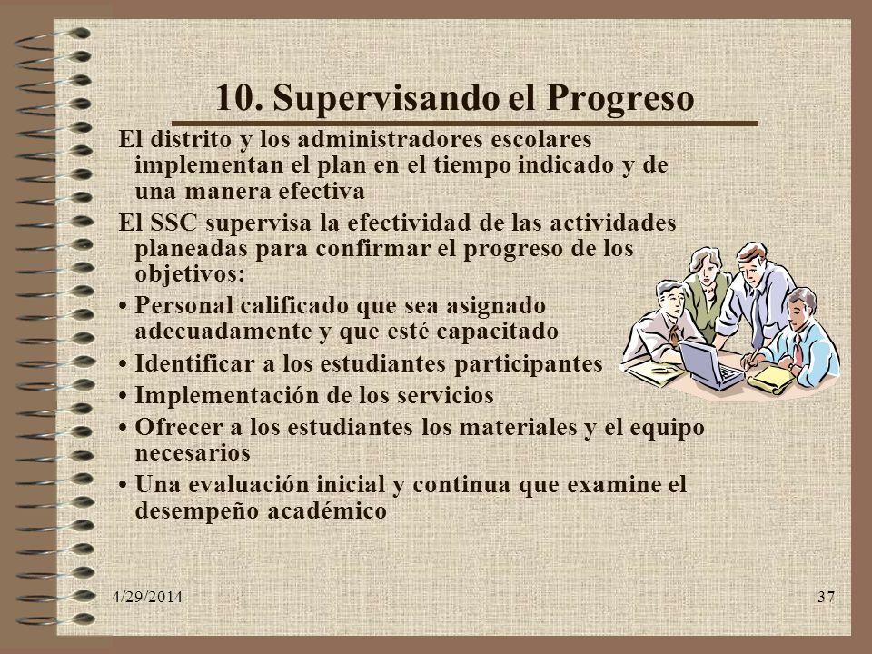 10. Supervisando el Progreso