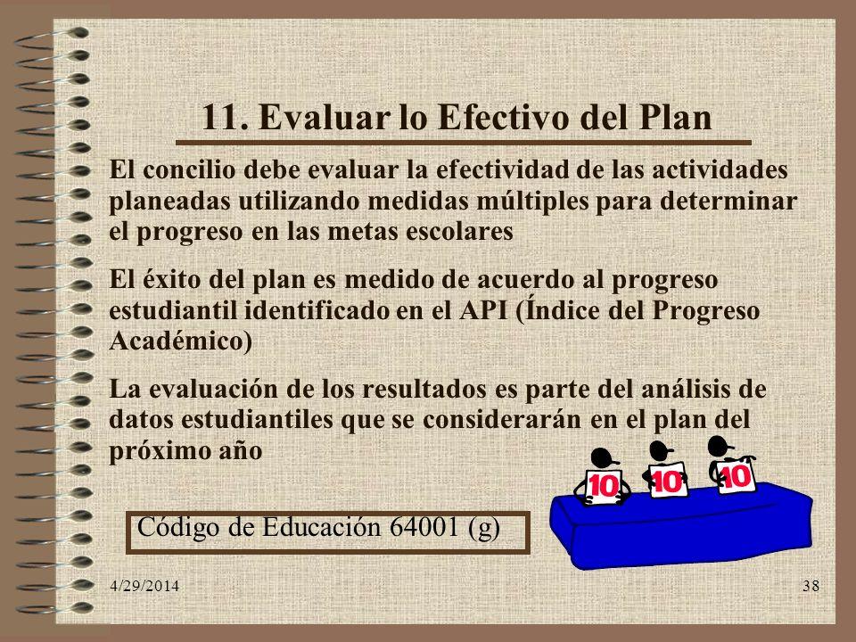 11. Evaluar lo Efectivo del Plan