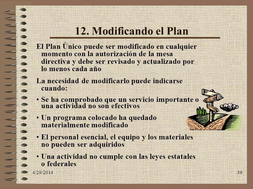 12. Modificando el Plan