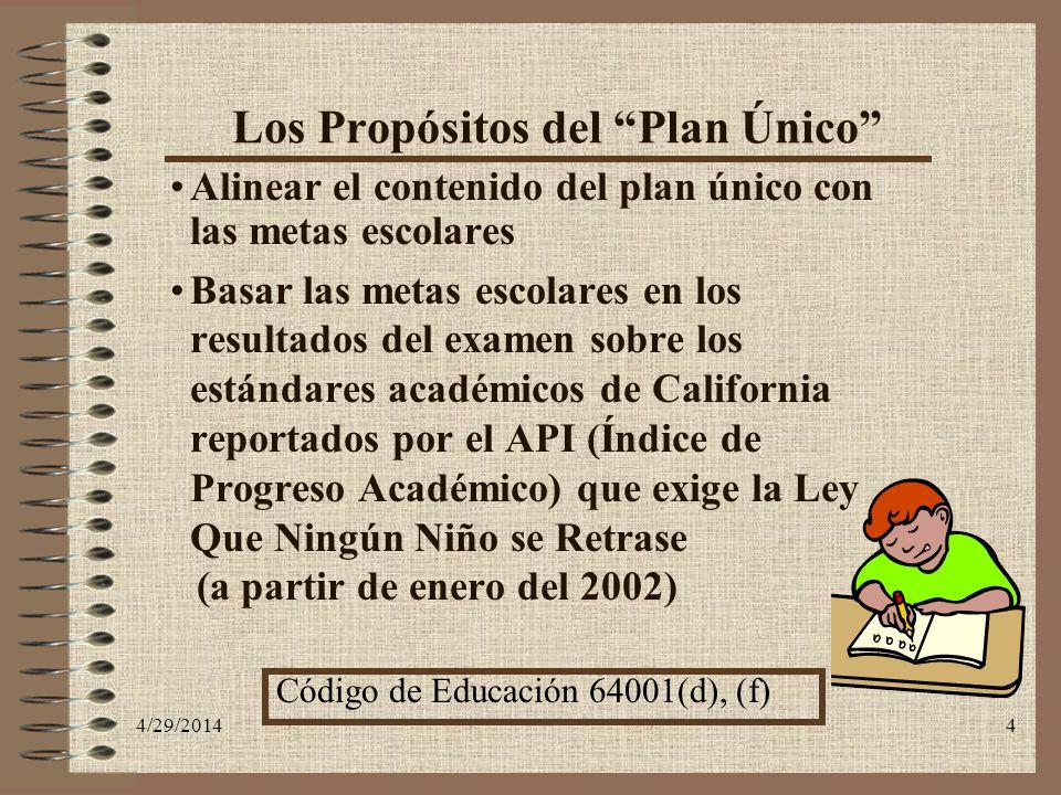 Los Propósitos del Plan Único