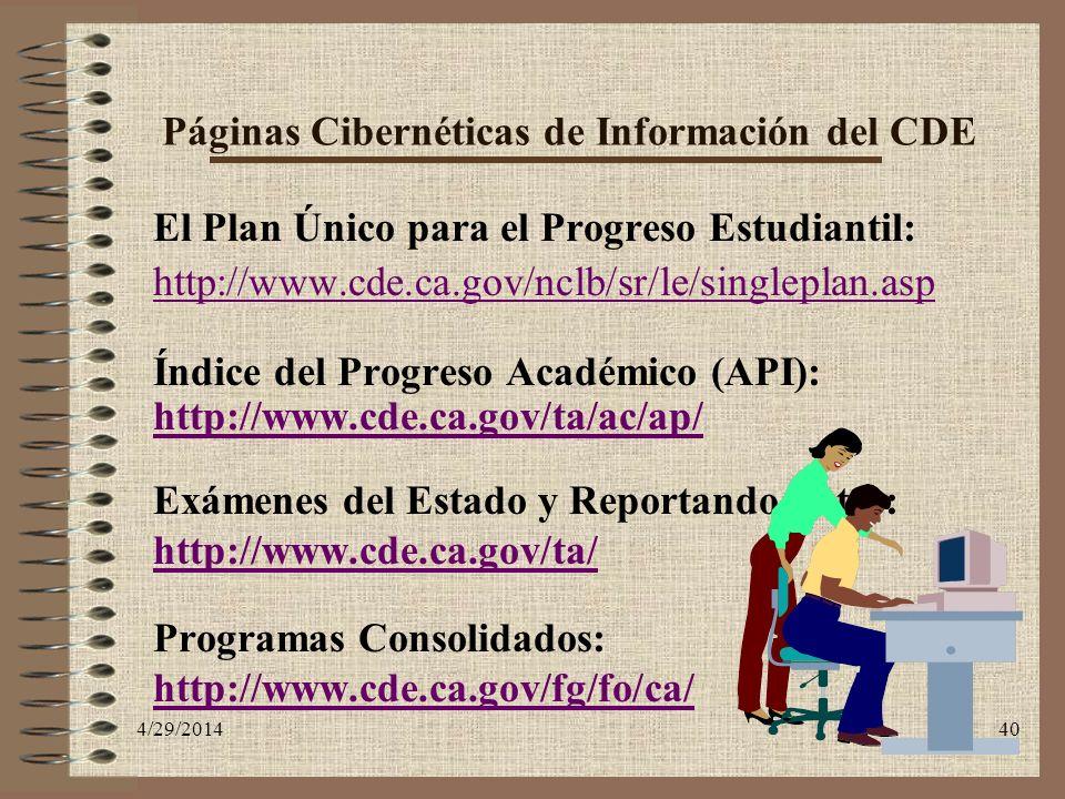 Páginas Cibernéticas de Información del CDE