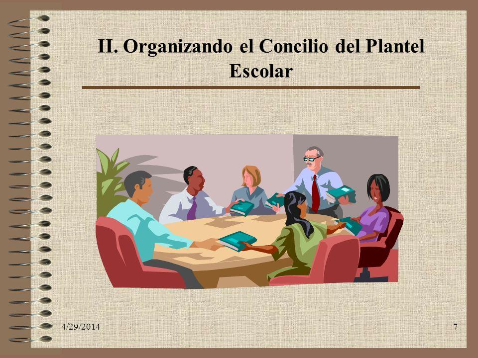 II. Organizando el Concilio del Plantel Escolar