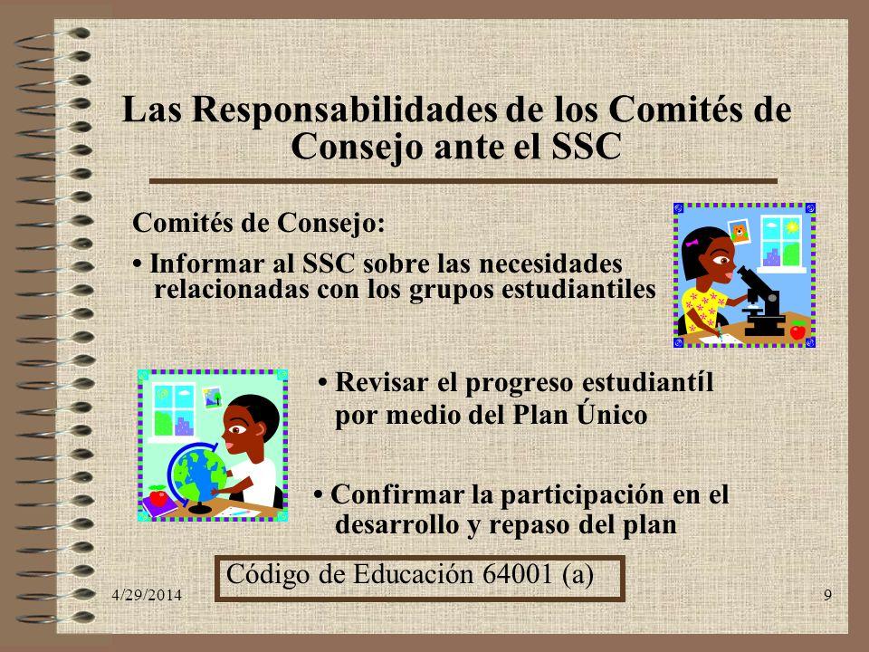Las Responsabilidades de los Comités de Consejo ante el SSC