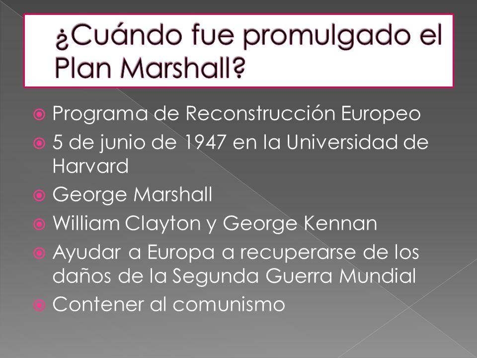¿Cuándo fue promulgado el Plan Marshall