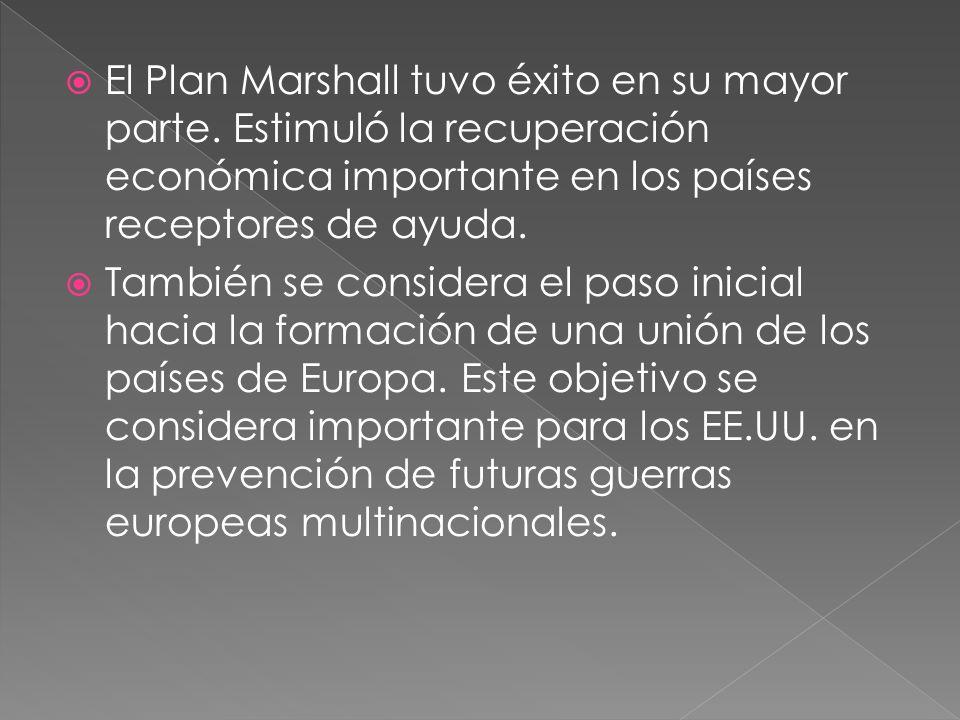 El Plan Marshall tuvo éxito en su mayor parte