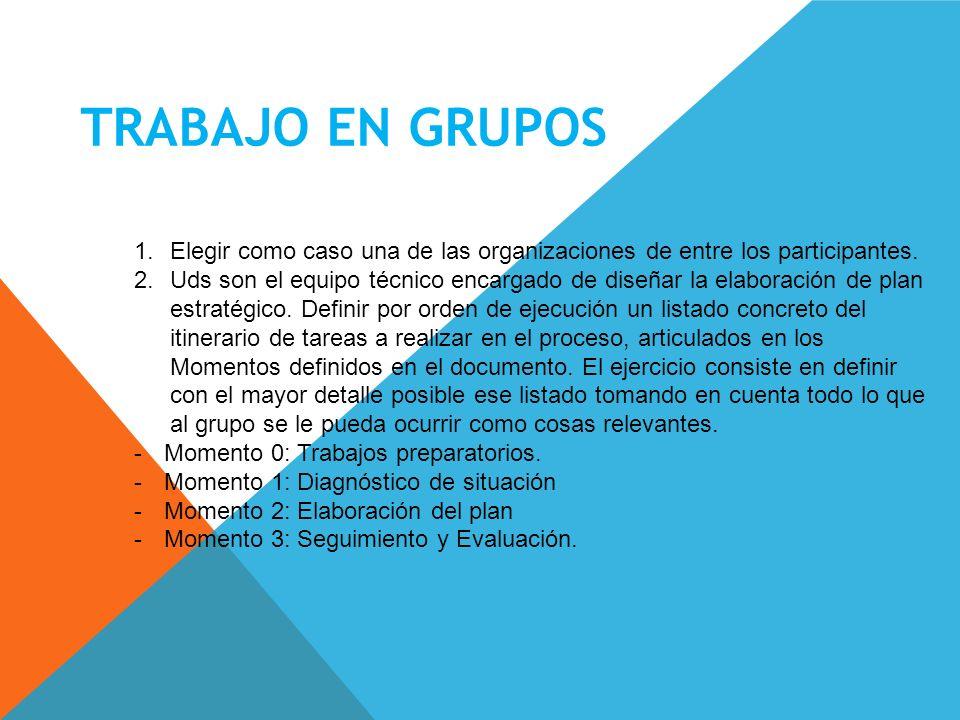 TRABAJO EN GRUPOS Elegir como caso una de las organizaciones de entre los participantes.