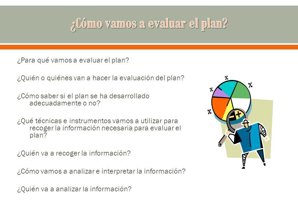 ¿Cómo vamos a evaluar el plan