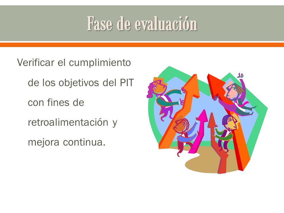Fase de evaluación Verificar el cumplimiento de los objetivos del PIT con fines de retroalimentación y mejora continua.