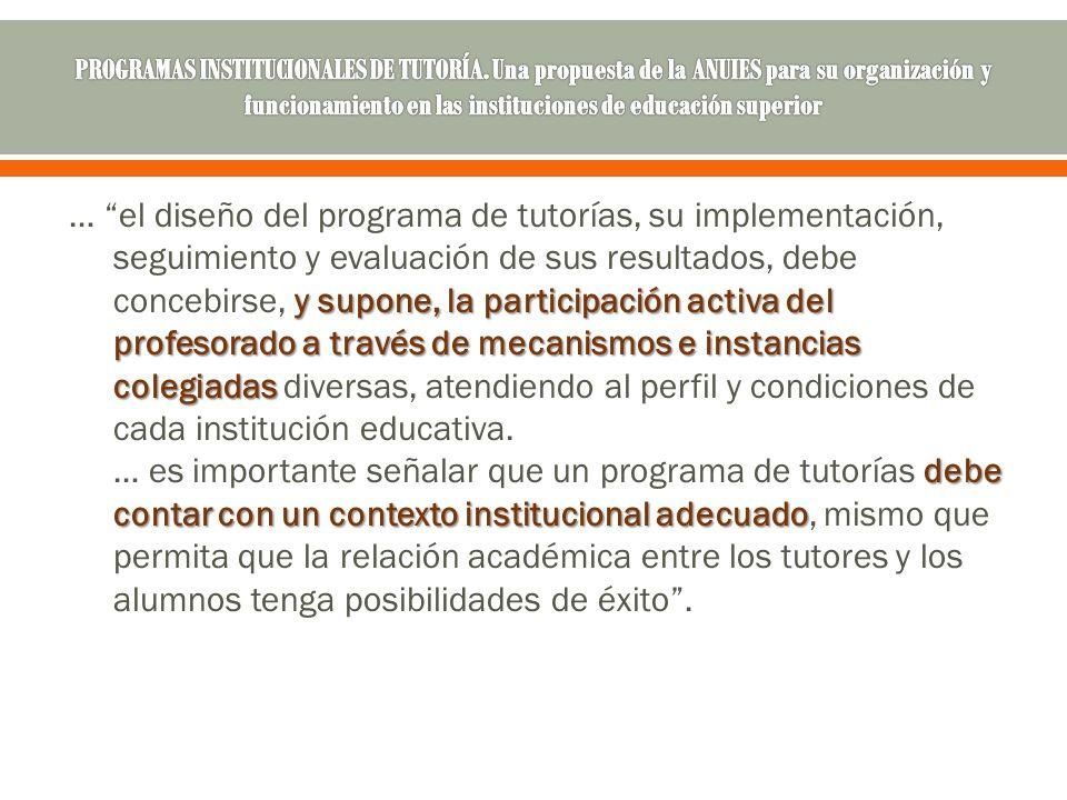 PROGRAMAS INSTITUCIONALES DE TUTORÍA