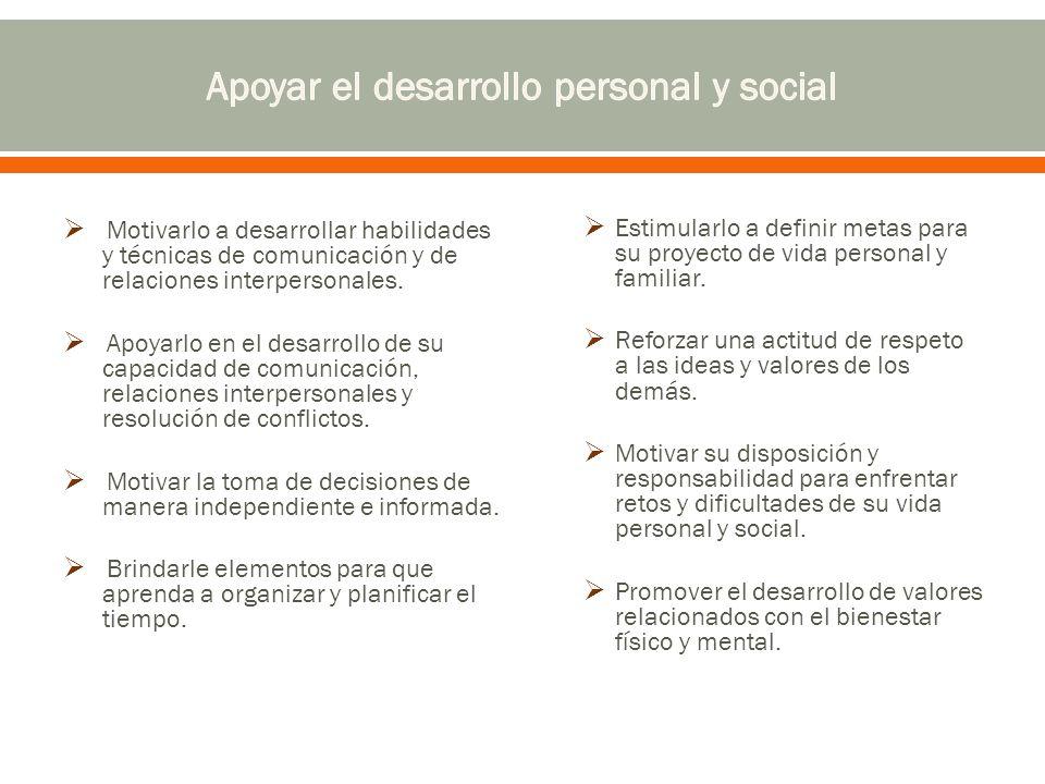 Apoyar el desarrollo personal y social