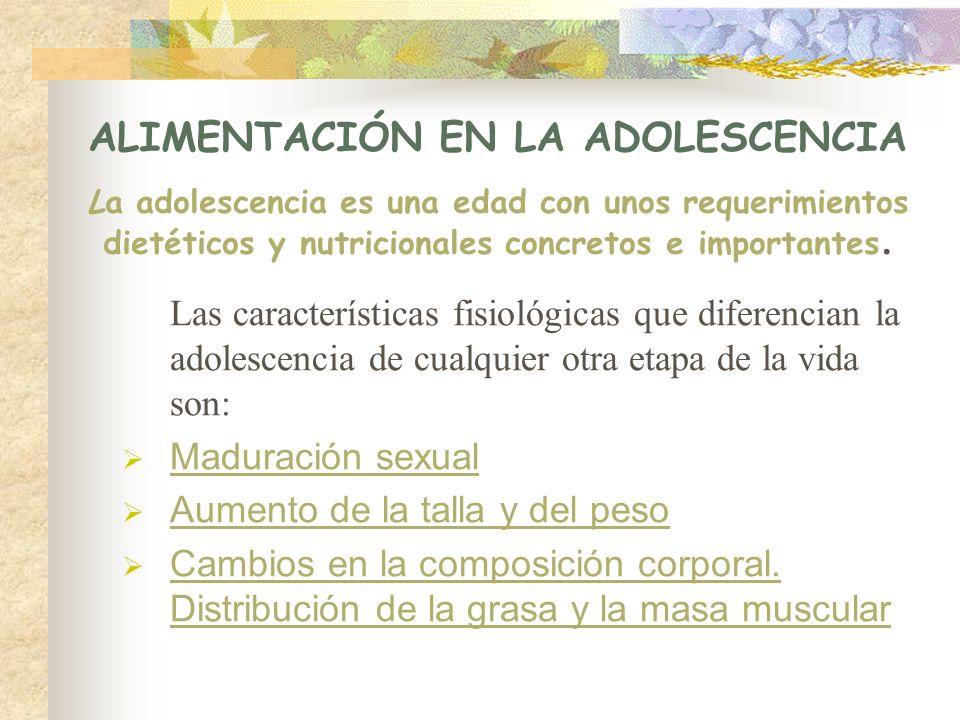 ALIMENTACIÓN EN LA ADOLESCENCIA La adolescencia es una edad con unos requerimientos dietéticos y nutricionales concretos e importantes.