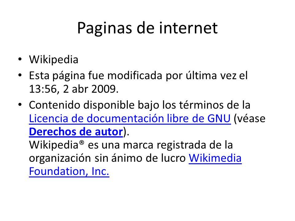 Paginas de internet Wikipedia