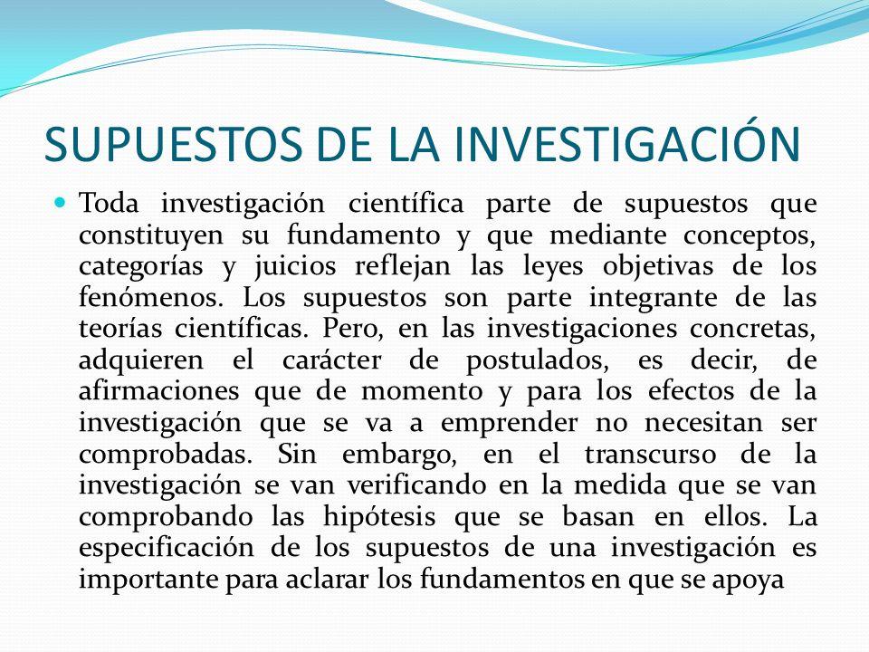 SUPUESTOS DE LA INVESTIGACIÓN