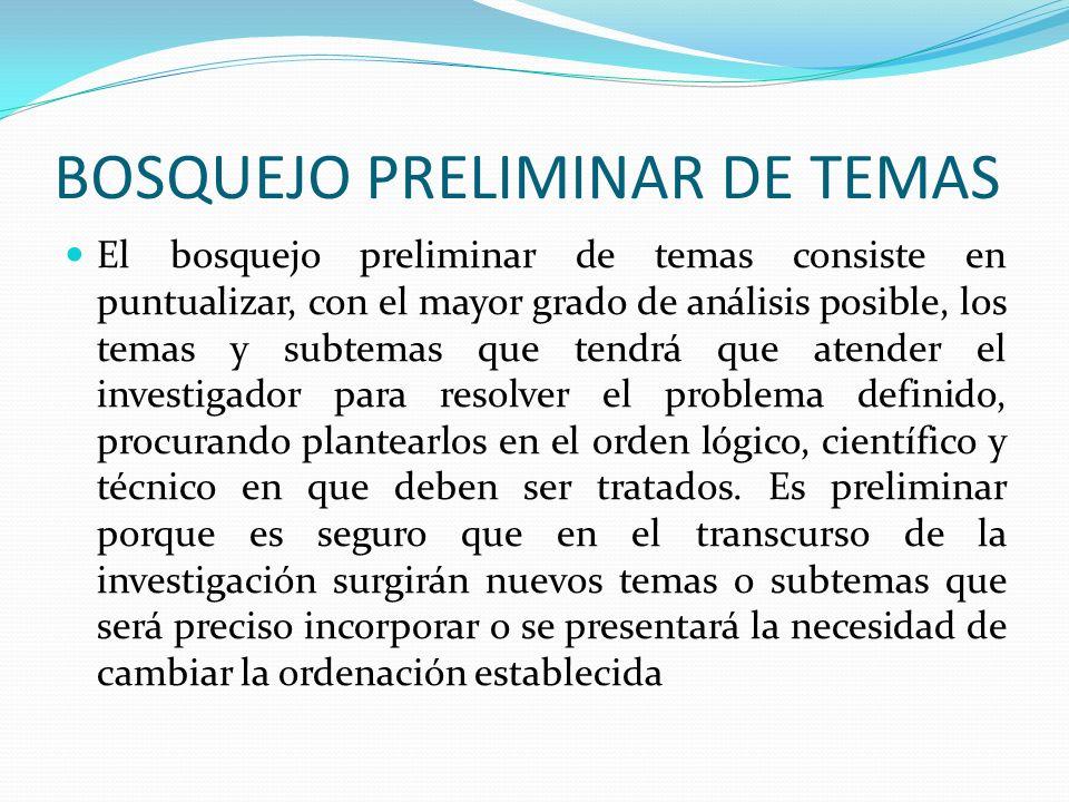BOSQUEJO PRELIMINAR DE TEMAS