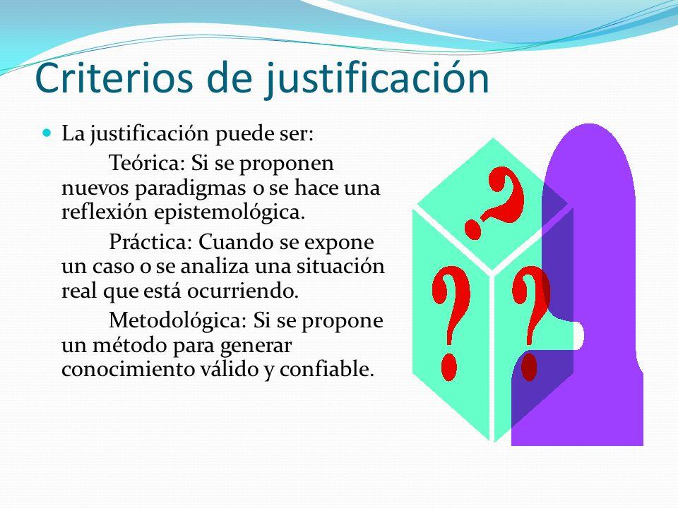 Criterios de justificación