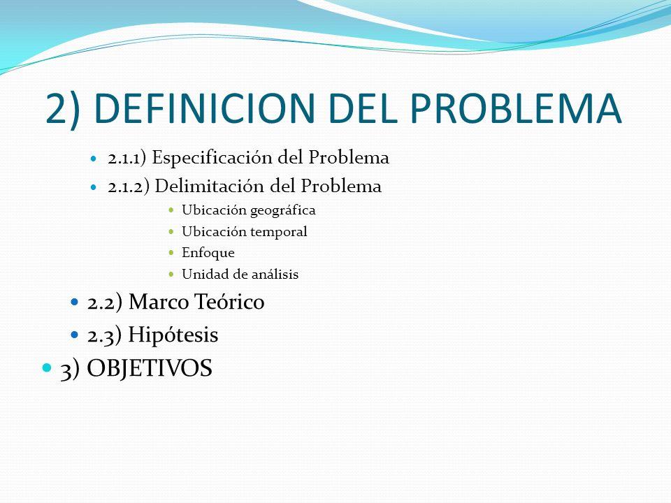 2) DEFINICION DEL PROBLEMA