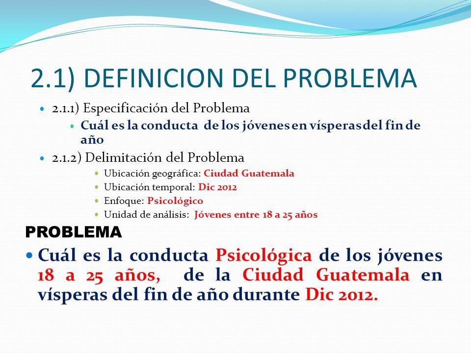 2.1) DEFINICION DEL PROBLEMA