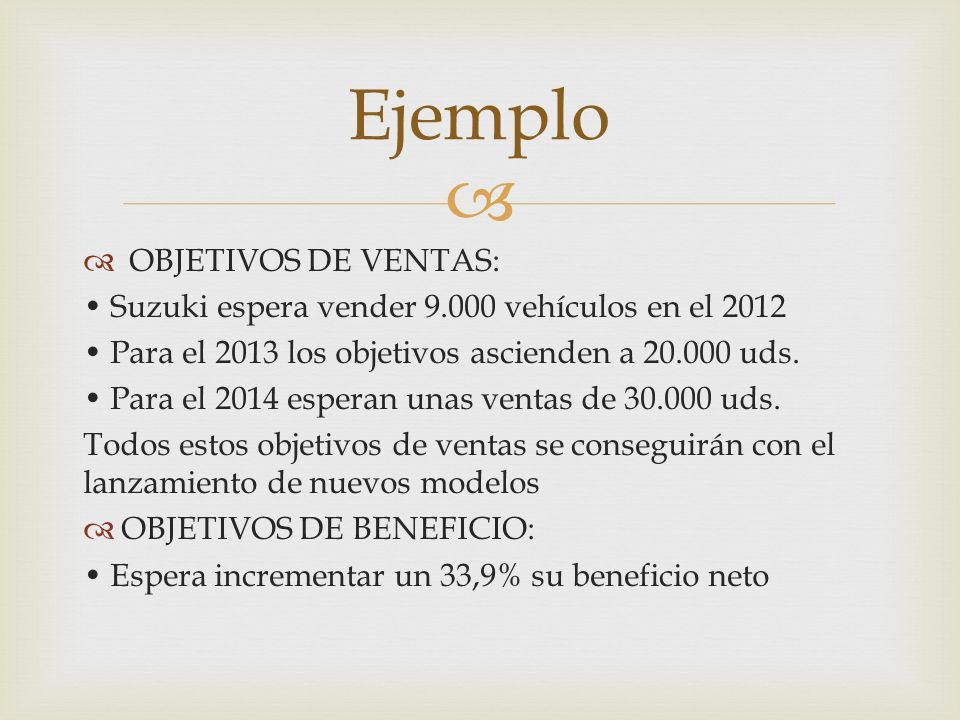 Ejemplo OBJETIVOS DE VENTAS: