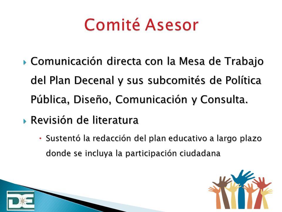 Comité Asesor Comunicación directa con la Mesa de Trabajo del Plan Decenal y sus subcomités de Política Pública, Diseño, Comunicación y Consulta.