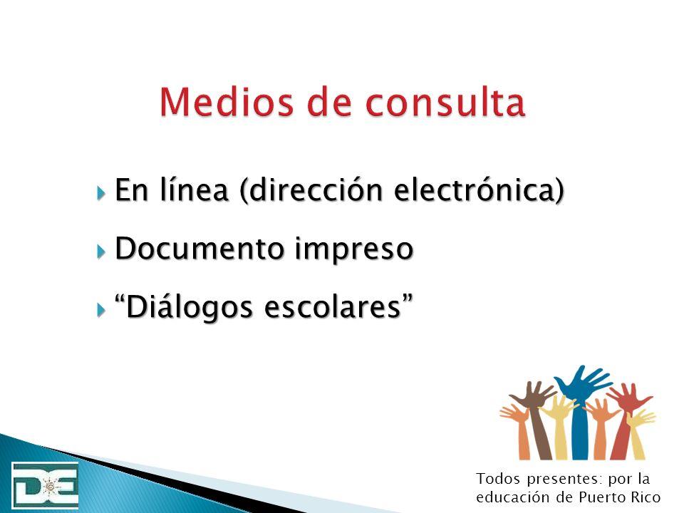 Medios de consulta En línea (dirección electrónica) Documento impreso