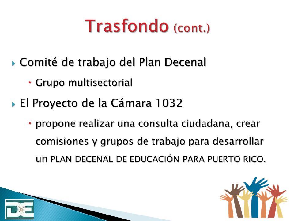 Trasfondo (cont.) Comité de trabajo del Plan Decenal