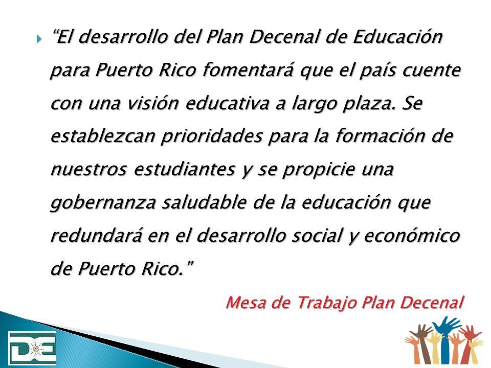 El desarrollo del Plan Decenal de Educación para Puerto Rico fomentará que el país cuente con una visión educativa a largo plaza. Se establezcan prioridades para la formación de nuestros estudiantes y se propicie una gobernanza saludable de la educación que redundará en el desarrollo social y económico de Puerto Rico.