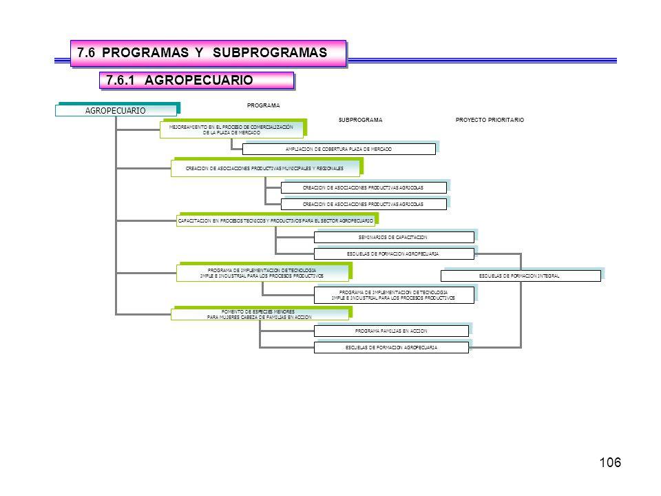 7.6 PROGRAMAS Y SUBPROGRAMAS