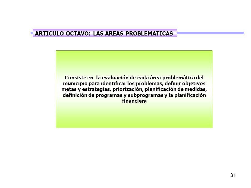 ARTICULO OCTAVO: LAS AREAS PROBLEMATICAS
